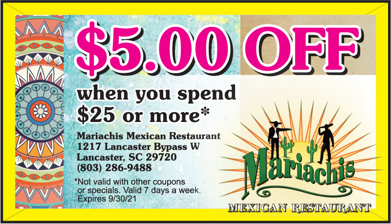 Mariachis Mexican Restaurant | Lancaster, SC | $5.00 Off Coupon when you spend $25.00